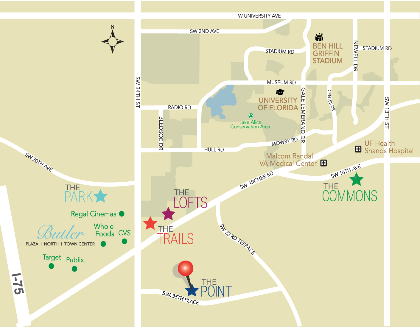 THE POINT GAINESVILLE location map
